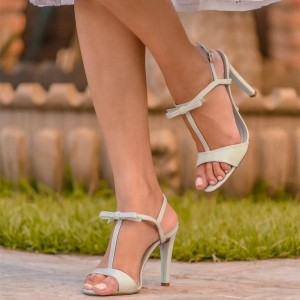 Ivory T Strap Heels Bow Stiletto Heel Sandals