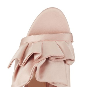Light Pink Ruffle Stiletto Heel Ankle Strap Sandals for Wedding