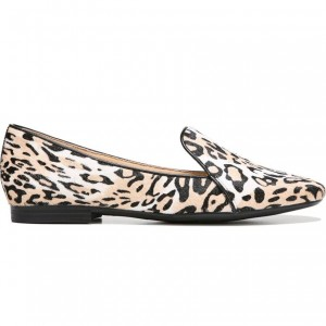Khaki Horsehair Leopard Print Flats Loafers for Women