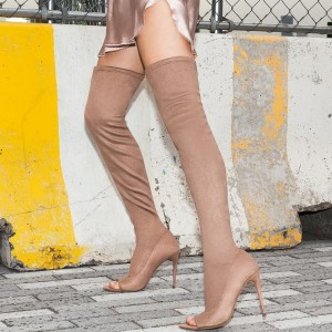 Khaki Suede Thigh High Heel Boots Stiletto Heel Peep Toe Boots