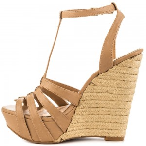 Khaki Wedge Sandals T Strap Peep Toe Platform Shoes