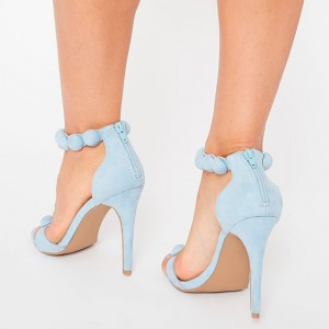 Light Blue Ankle Strap Sandals Open Toe Stiletto Heels