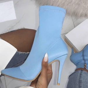 Light Blue Lycra Sock Boots Pointed Toe Stiletto Heel Mid Calf Boots