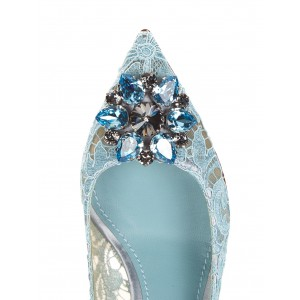 Light Blue Wedding Shoes Lace Heels Pointy Toe Rhinestone Pumps