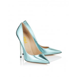 Light Blue Stiletto Heels Dress Shoes Mirror Leather Pointy Toe Pumps