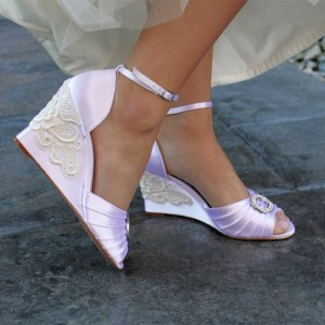 Orchid Wedding Dress Sandals Satin Wedge Heels Ankle Strap Sandals