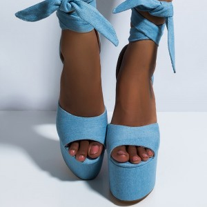 Light Blue Denim Chunky Heels Lace up Sandals