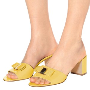 Mellow Yellow Block Heel Sandals Open Toe Mule with Bow