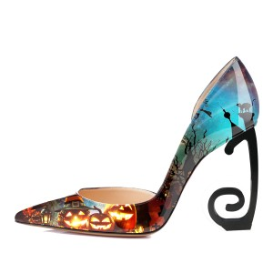 Multi-Color Pumpkin Floral Heels Stiletto Heel Pumps for Halloween