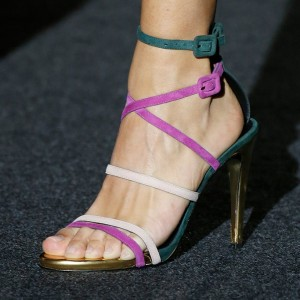 Multicolor Cross over Strap Stiletto Heels Sandals Prom Shoes