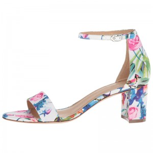 Multicolor Floral Chunky Heel Open Toe Ankle Strap Sandals