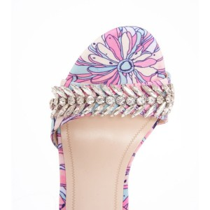 Multicolor Floral Rhinestones Stiletto Heel Ankle Strap Sandals