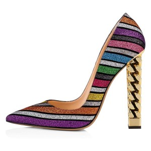 Multicolor Glitter Chunky Heels Pumps