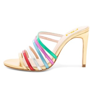 Multicolor Open Toe Stiletto Heels Sexy Mules