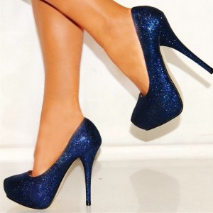 Navy Glitter Shoes Sparkly Stiletto Heels Platform Pumps US Size 3-15