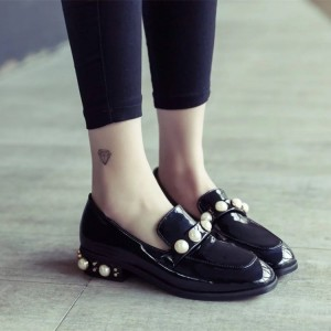 Black Patent Leather Square Toe Low Heel Pearls Loafers for Women