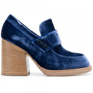 Navy Round Toe Block Heels Velvet Heeled Loafers for Women