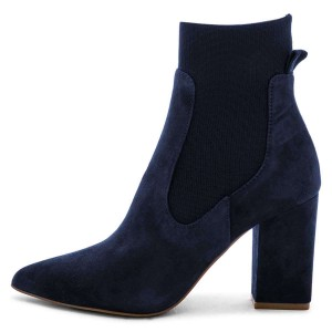Suede Navy Blue Boots Chunky Heels Chelsea Boots