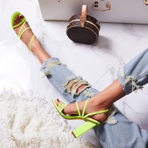 Neon Green Slingback Block Heels Sandals