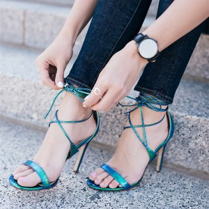Women's Cyan Open Toe Cross Over Strappy Stiletto Heel Sandals