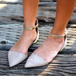Women's White Pointy Toe Golden Ankle Strap Comfortable Flats