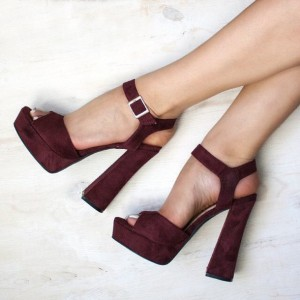 Burgundy Heels Peep Toe Suede Chunky Heel Sandals with Platform