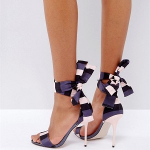 Purple and Ivory Stripe Satin Strappy Sandals Open Toe Stiletto Heels