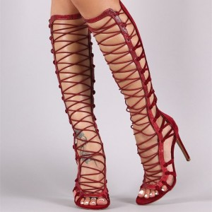 Women's Red Stiletto Heels Peep Toe Knee High Strappy Gladiator Sandals