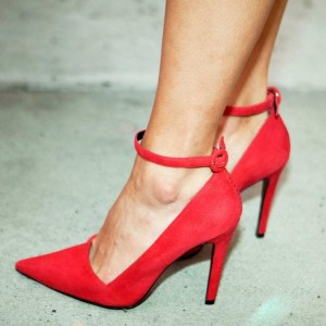 Red Stiletto Heels Dress Shoes Pointy Toe Suede Ankle Strap Pumps