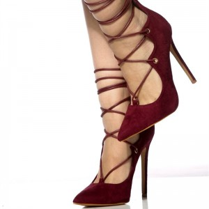 Maroon Heels Pointy Toe Strappy Suede Stiletto Heel Pumps