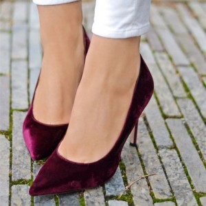 Burgundy Velvet Heels Pointy Toe Stiletto Heel Pumps