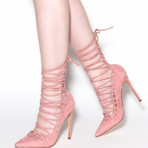 Light Pink Strappy Heels Pointy Toe Lace up Suede Pumps