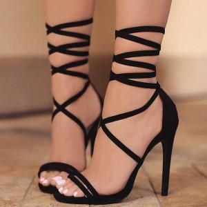 Women's Lelia Black Stiletto Heels Open Toe Lace Up Strappy Sandals
