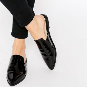 Black Patent Leather Loafer Mules Pointy Toe Office Flats for Women