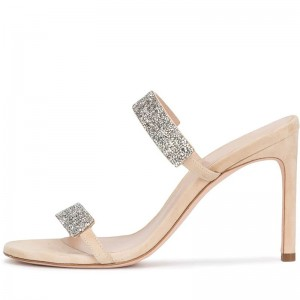 Nude Stiletto Heel Mule Heels Sandals