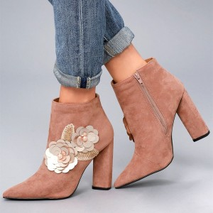Old Pink Sequined Flowers Ankle Booties Beaded Suede Chunky Heel Boots