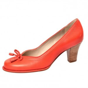 Orange Vintage Heels Bow Retro Chunky Heel Pumps