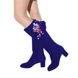Women's Navy Suede Fish Floral Mid-Calf Chunky Heel Boots