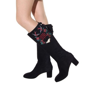 Women's Black Suede Letter Floral Mid-Calf Chunky Heel Boots