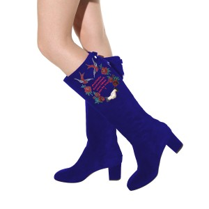 Women's Navy Suede Letter Floral Mid-Calf Chunky Heel Boots