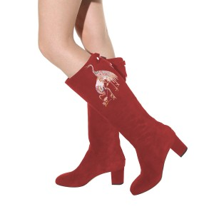 Women's Maroon Suede Crane Floral Mid-Calf Chunky Heel Boots