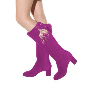 Women's Violet Suede Crane Floral Mid-Calf Chunky Heel Boots