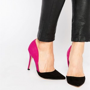 Magenta and Black Office Heels Pointy Toe Stiletto Heel Pumps