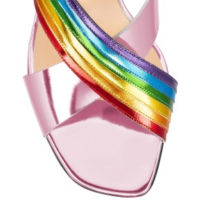 Pink and Rainbow Color Mule Heels Open Toe Block Heel Slides