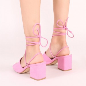 Pink Chunky Heel Slingback Strappy Sandals