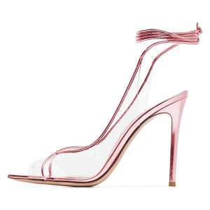 Pink Clear Heels Ankle Strap Stiletto Heel Sandals