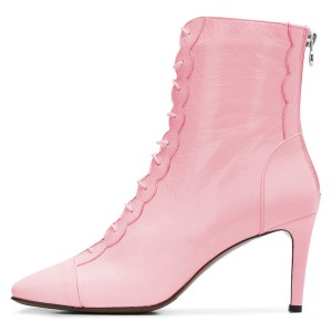Pink Lace Up Boots Stiletto Heel Ankle Boots