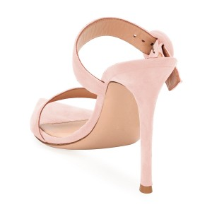 Pink Open Toe Stiletto Heels Mule Summer Sandals Sexy Shoes