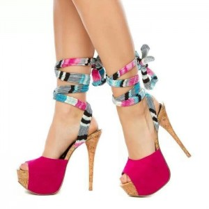 Pink Peep Toe Platform Sandals Stiletto Heels Strappy Sandals