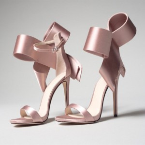 Pink Satin Cute Bow Sandals Open Toe Ankle Strap Sandals for Wedding